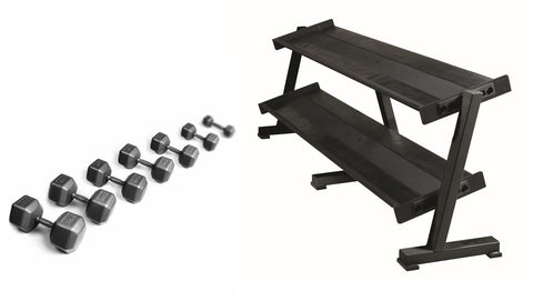 York Barbell Pro Hex DB Stock Sets with Racks