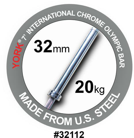 Image of York Barbell 7' Chrome Olympic Bar - 32 mm