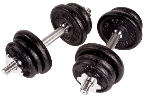 York Barbell Black Cast Iron Adjustable S/L Dumbbell Set