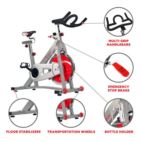 Image of Sunny Health & Fitness 40 Lb Flywheel Belt Drive Pro Indoor Cycling Exercise Bike