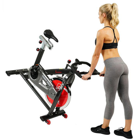Image of Sunny Health & Fitness Belt Drive Indoor Cycling Bike with Heavy 49 Lb Flywheel