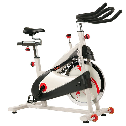 Image of Sunny Health & Fitness Clipless Pedal Premium Indoor Cycling Exercise Bike with Belt Drive