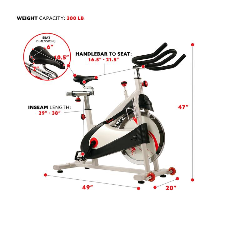 Sunny Health & Fitness Clipless Pedal Premium Indoor Cycling Exercise Bike with Belt Drive
