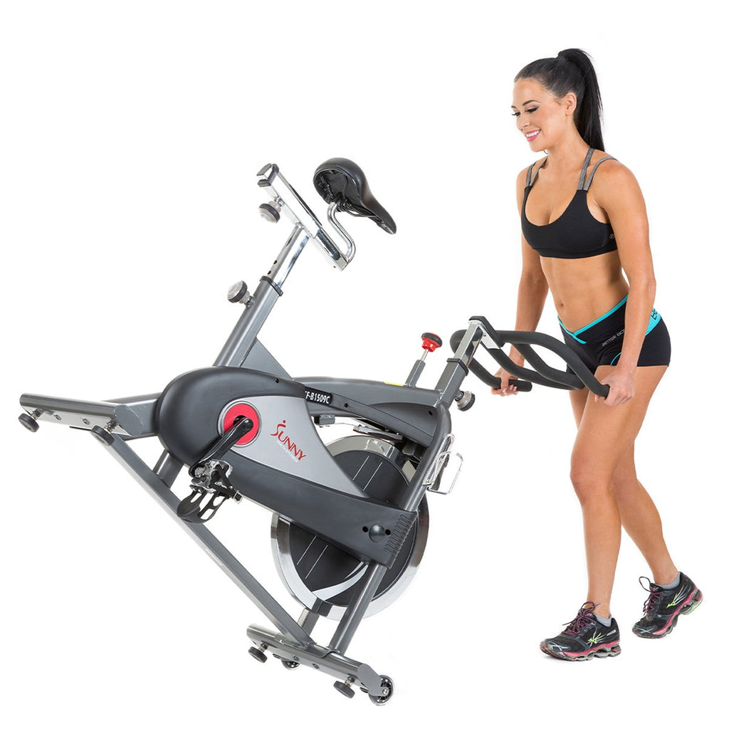 Sunny health & Fitness Clipless Pedal Premium Indoor Cycling Exercise Bike with Chain Drive