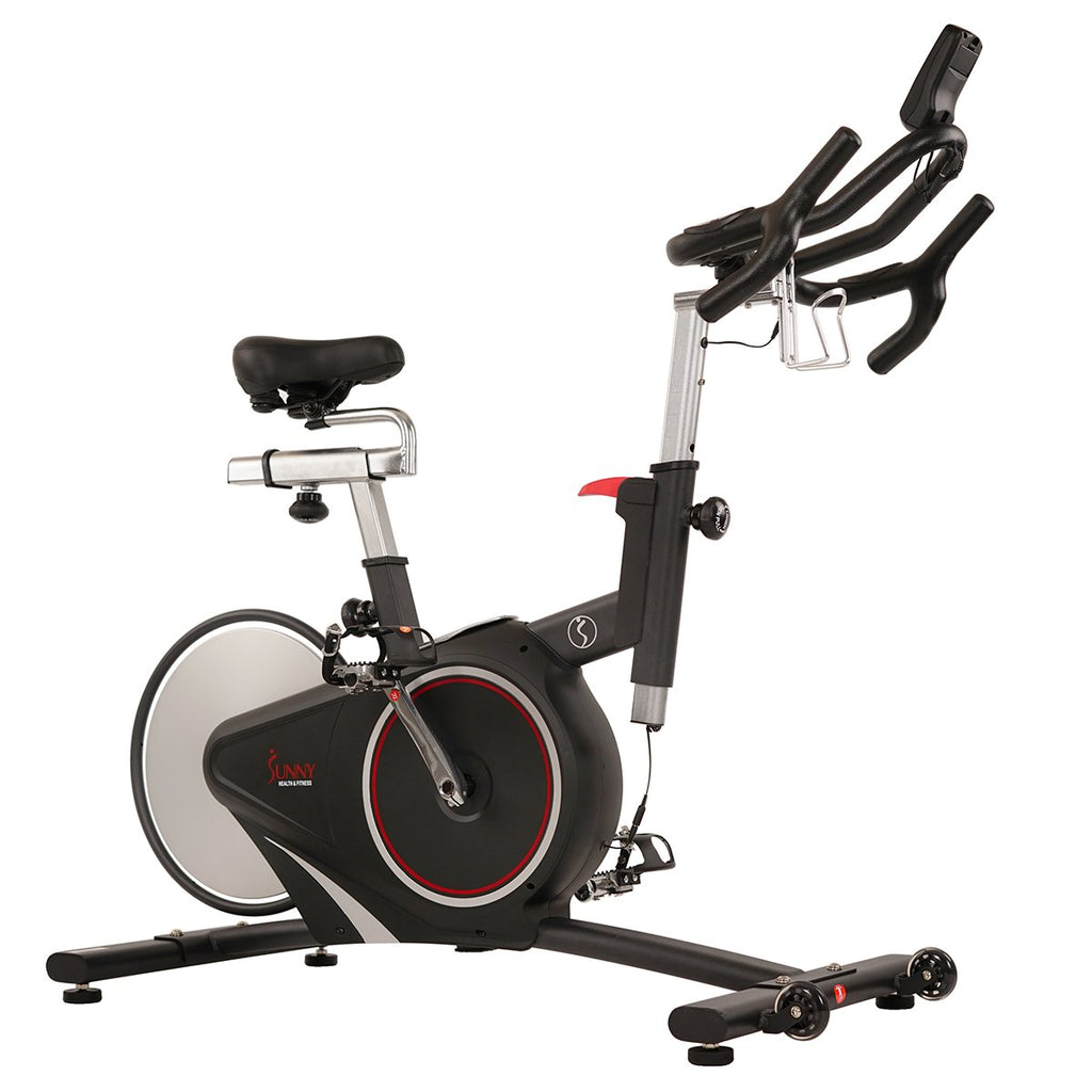 Sunny Health & Fitness Magnetic Rear Belt Drive Indoor Cycling Bike, High Weight Capacity W/ Cadence Sensor and Pulse Rate