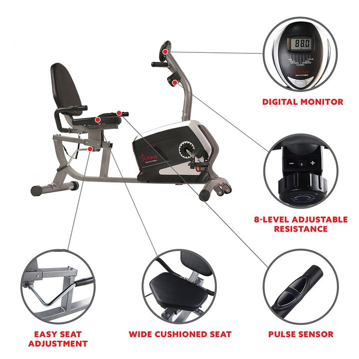 Sunny Health & Fitness Magnetic Recumbent Exercise Bike, 300 Lb Capacity & Easy Adjustable Seat