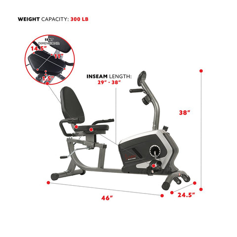 Image of Sunny Health & Fitness Magnetic Recumbent Exercise Bike, 300 Lb Capacity & Easy Adjustable Seat
