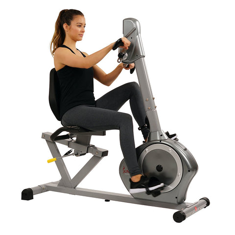 Image of Sunny Health & Fitness Magnetic Recumbent Exercise Bike, 350 Lb High Weight Capacity, Arm Exercisers, Monitor, Pulse Rate