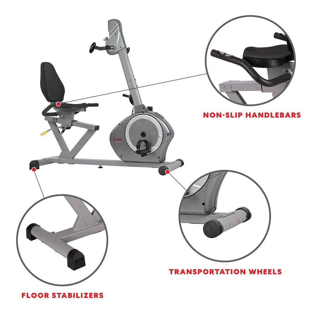Sunny Health & Fitness Magnetic Recumbent Exercise Bike, 350 Lb High Weight Capacity, Arm Exercisers, Monitor, Pulse Rate
