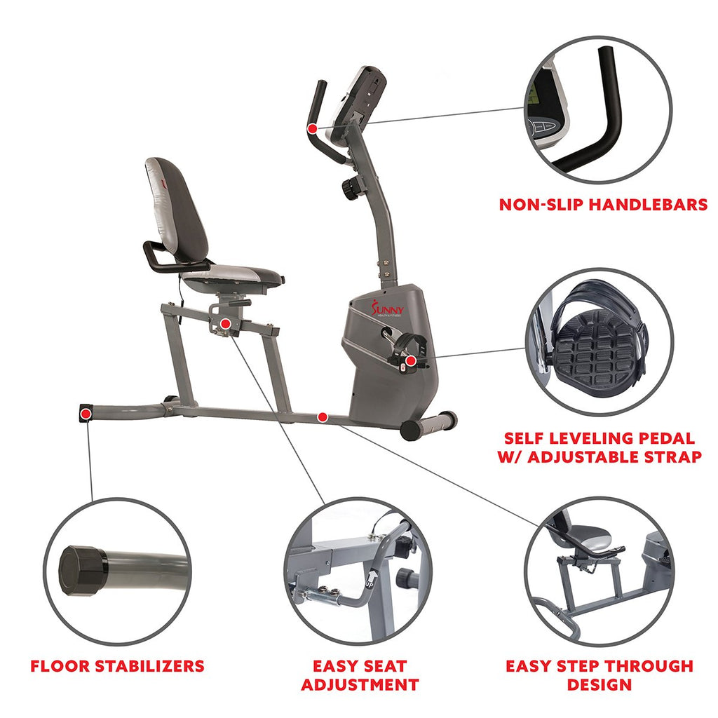 Sunny health & Fitness Magnetic Recumbent Exercise Bike W/ Easy Adjustable Seat, Device Holder, Rpm and Pulse Rate