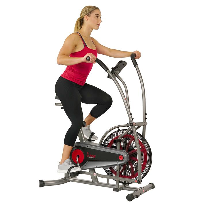 Sunny health & Fitness Motion Air Bike, Fan Exercise Bike with Unlimited Resistance and Device Holder