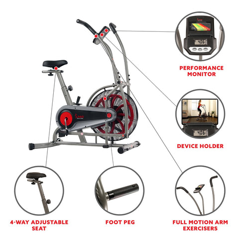 Image of Sunny health & Fitness Motion Air Bike, Fan Exercise Bike with Unlimited Resistance and Device Holder