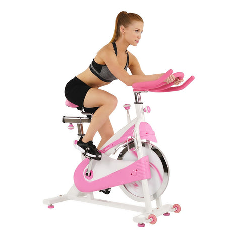 Image of Sunny Health & Fitness Pink Belt Drive Premium Indoor Cycling Trainer Exercise Bike