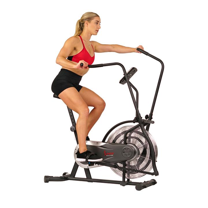 Sunny Health & Fitness Zephyr Air Bike, Fan Exercise Bike W/ Unlimited Resistance, Adjustable Handlebars