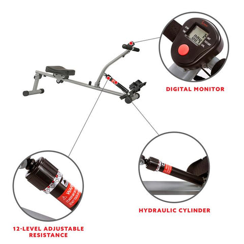 Image of Sunny Health & Fitness 12 Adjustable Resistance Rowing Machine Rower W/ Digital Monitor