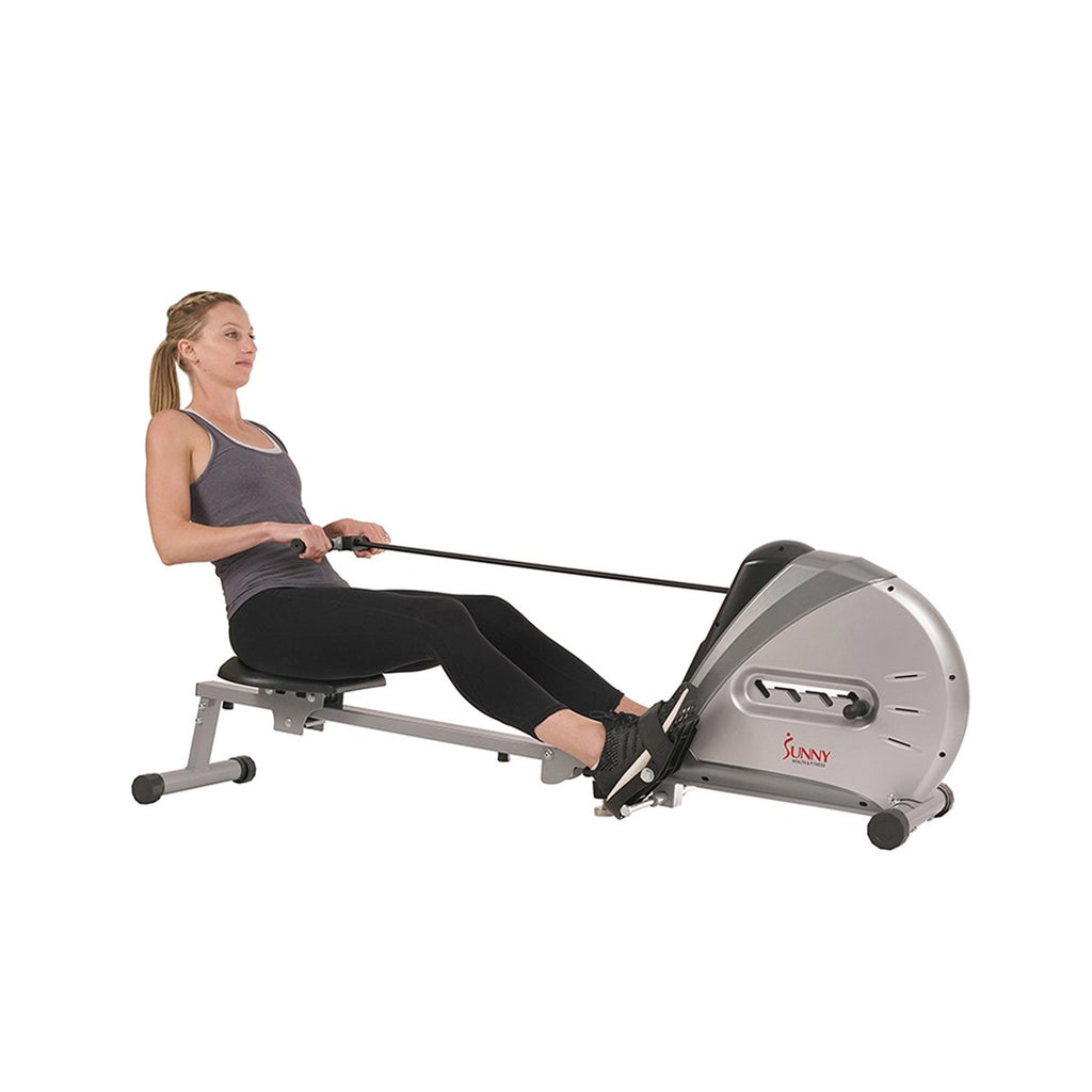 Sunny Health & Fitness Elastic Cord Rowing Machine Rower W/ Lcd Monitor