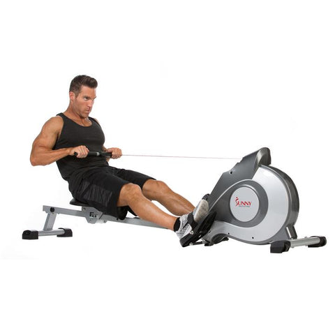Image of Sunny Health & Fitness Magnetic Rowing Machine Rower W/ Lcd Monitor