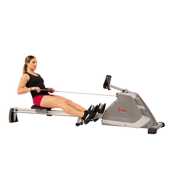 Sunny Health & Fitness Magnetic Rowing Machine Rower W/ High Weight Capacity, Programmable Monitor