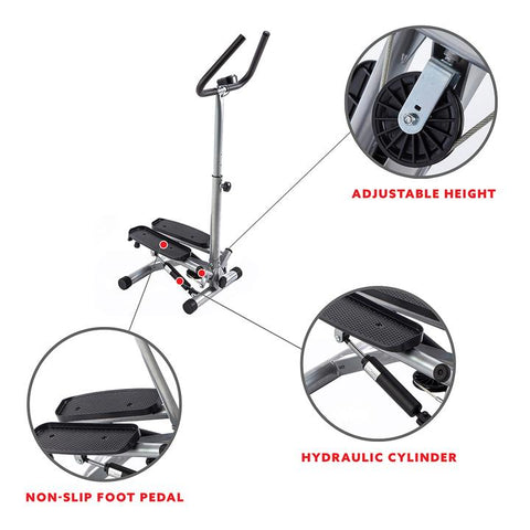 Image of Sunny Health & Fitness Twist Stepper Step Machine W/ Handlebar and Lcd Monitor