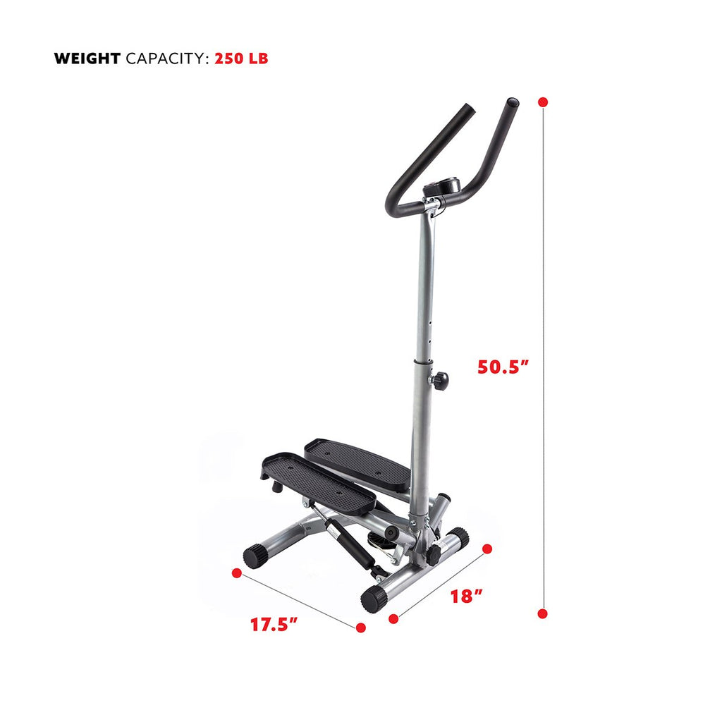 Sunny Health & Fitness Twist Stepper Step Machine W/ Handlebar and Lcd Monitor