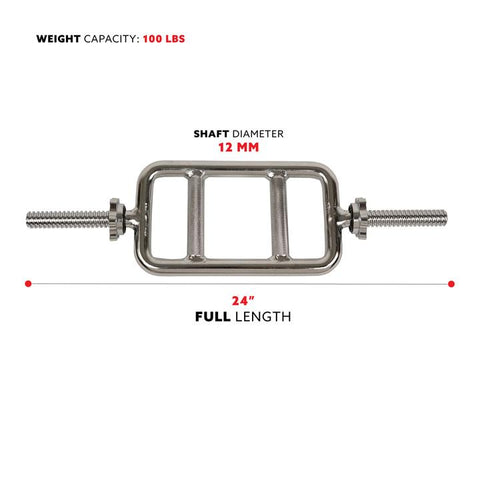 Image of Sunny Health & Fitness 24 in Threaded Solid Chrome Tricep Bar W/ Ring Collars