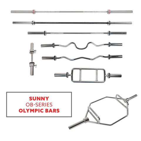 "Image of Sunny Health & Fitness 34"" Olympic Tricep Bar W/ Ring Collars"