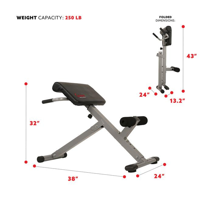 Sunny Health & Fitness 45 Degree Hyperextension Roman Chair