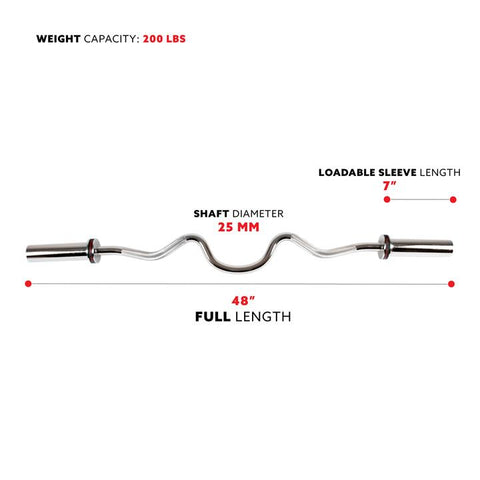 "Image of Sunny Health & Fitness 48"" Olympic Super Curl Bar W/ Ring Collars"