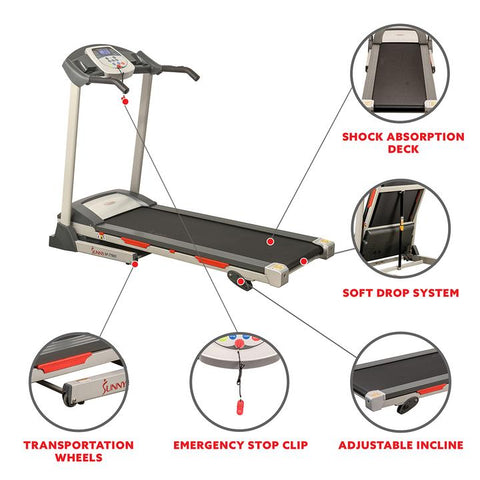 Image of Sunny Health & Fitness Electric Treadmill W/ 9 Programs, Manual Incline, Easy Handrail, Controls, and Preset Button Speeds