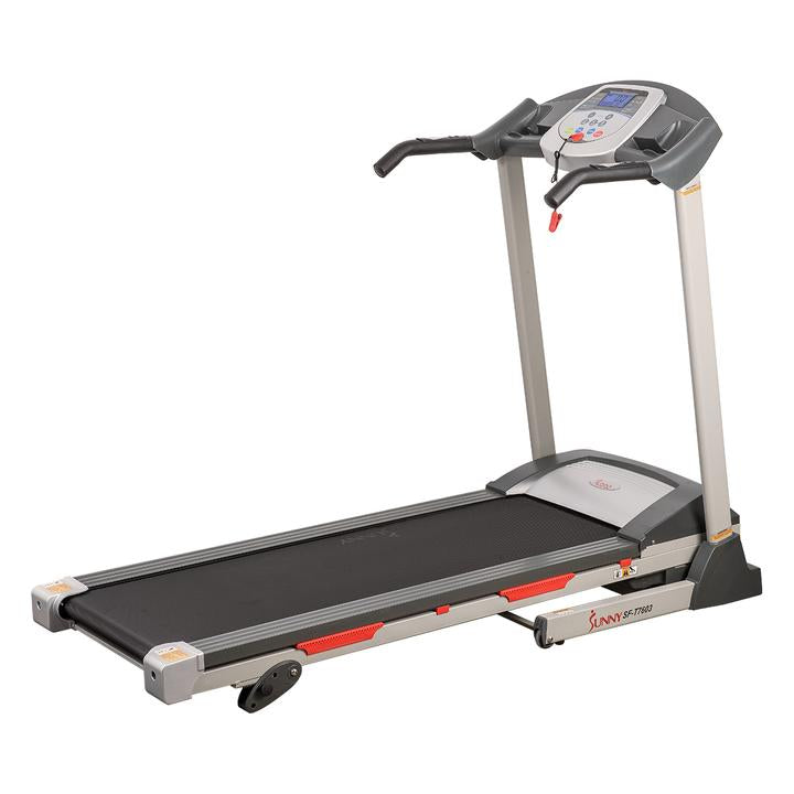 Sunny Health & Fitness Electric Treadmill W/ 9 Programs, Manual Incline, Easy Handrail, Controls, and Preset Button Speeds