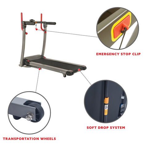 Image of Sunny Health & Fitness Incline Treadmill with Bluetooth Speakers and USB Charging Function