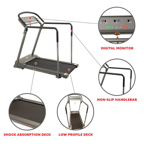 Image of Sunny Health & Fitness Recovery Walking Treadmill W/ Low Pro Deck Multi-Multi Grip Handrails for Mobility/ Balance, Support