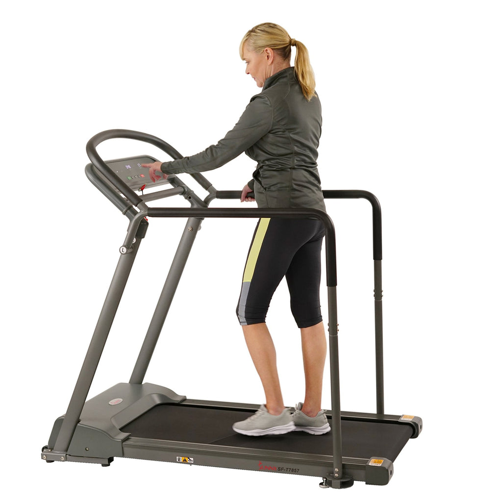 Sunny Health & Fitness Recovery Walking Treadmill W/ Low Pro Deck Multi-Multi Grip Handrails for Mobility/ Balance, Support