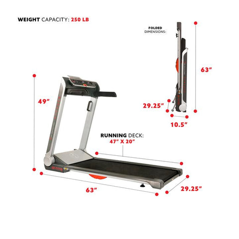 "Image of Sunny Health & Fitness Running Treadmill, 20"" Wide Belt, Flat Folding & Low Pro for Portability W/ Speakers and USB"