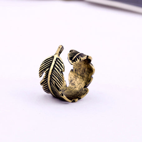 Antique Leaf Feather Unisex Ring