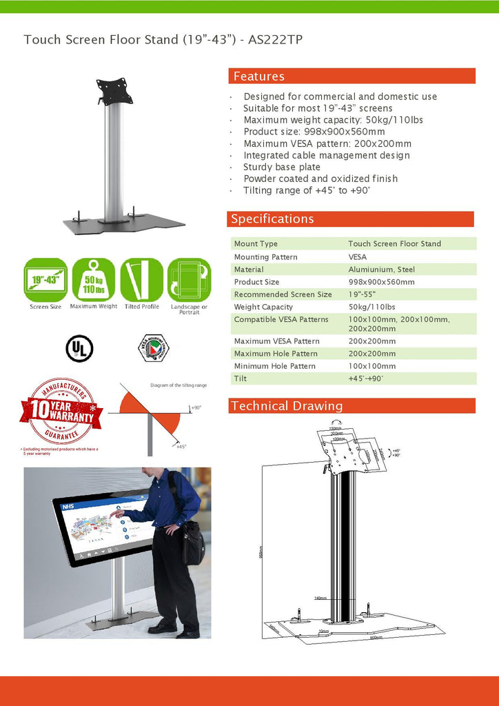 touch screen stand specification