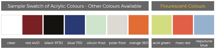 Colour swatch for Point of sale display cubes