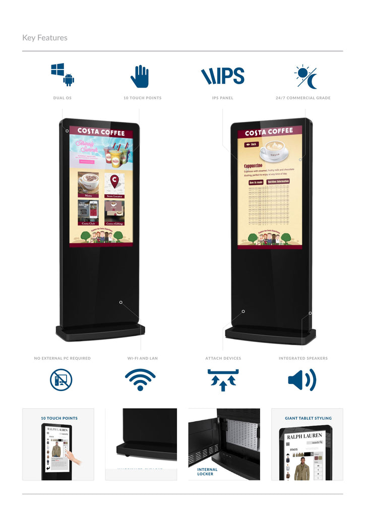 freestanding touch screen specification