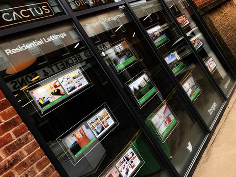 Illuminated estate agent window display