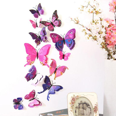 12 Double-Winged Butterfly Wall Stickers - Wall Art wall stickers