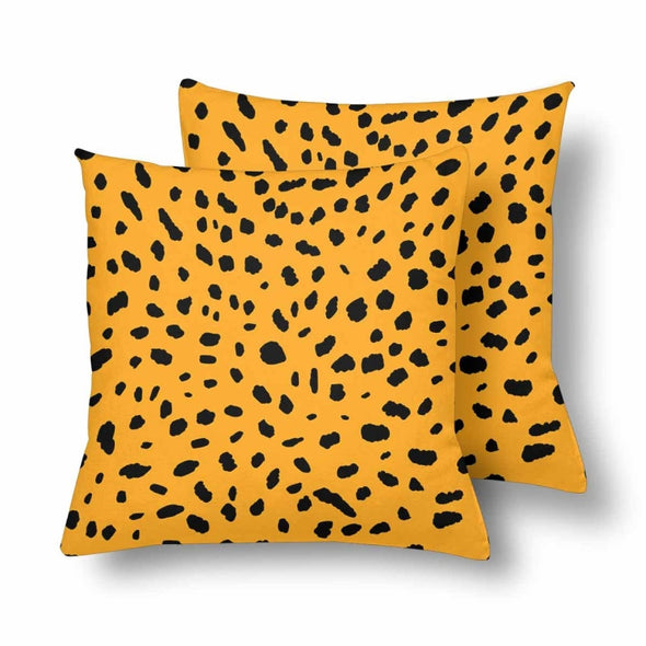 18 x 18 Throw Pillows (2) - Custom Cheetah Pattern - Orange Cheetah - Housewares cheetahs housewares pillows