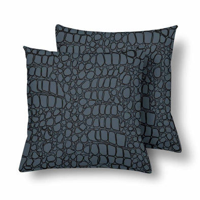 18 x 18 Throw Pillows (2) - Custom Crocodile Pattern - Charcoal Crocodile - Housewares crocodiles housewares pillows