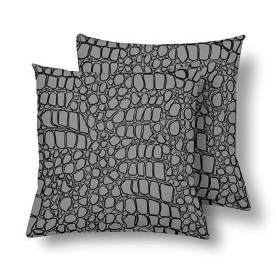 18 x 18 Throw Pillows (2) - Custom Crocodile Pattern - Gray Crocodile - Housewares crocodiles housewares pillows