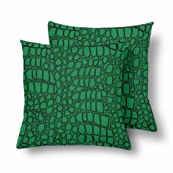 18 x 18 Throw Pillows (2) - Custom Crocodile Pattern - Green Crocodile - Housewares crocodiles housewares pillows