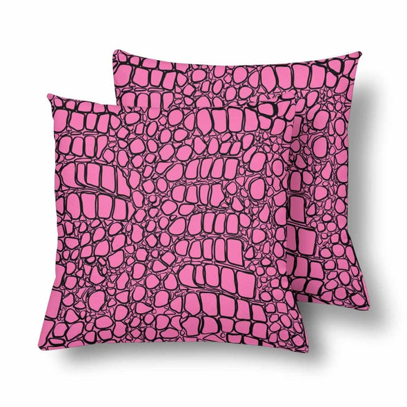18 x 18 Throw Pillows (2) - Custom Crocodile Pattern - Hot Pink Crocodile - Housewares crocodiles housewares pillows