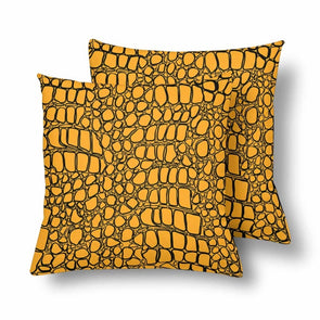 18 x 18 Throw Pillows (2) - Custom Crocodile Pattern - Orange Crocodile - Housewares crocodiles housewares pillows