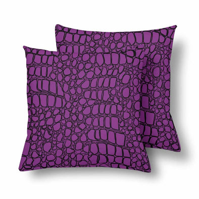 18 x 18 Throw Pillows (2) - Custom Crocodile Pattern - Purple Crocodile - Housewares crocodiles housewares pillows