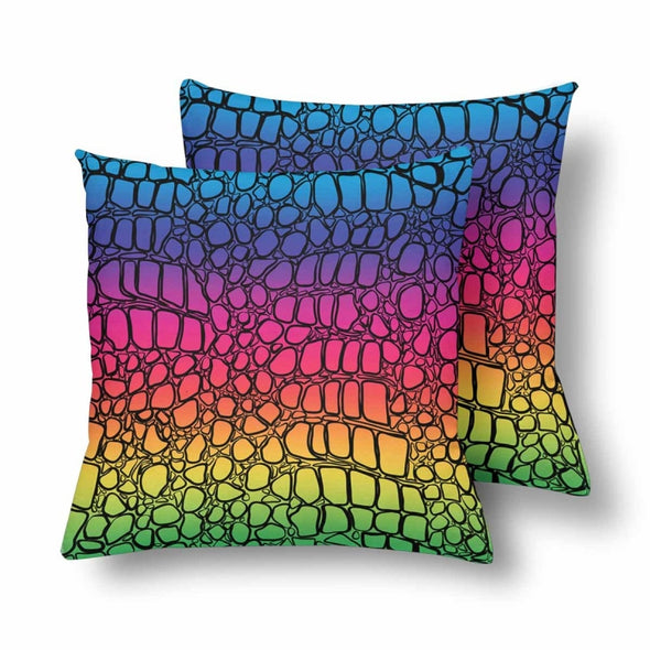 18 x 18 Throw Pillows (2) - Custom Crocodile Pattern - Rainbow Crocodile - Housewares crocodiles housewares pillows
