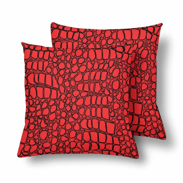 18 x 18 Throw Pillows (2) - Custom Crocodile Pattern - Red Crocodile - Housewares crocodiles housewares pillows