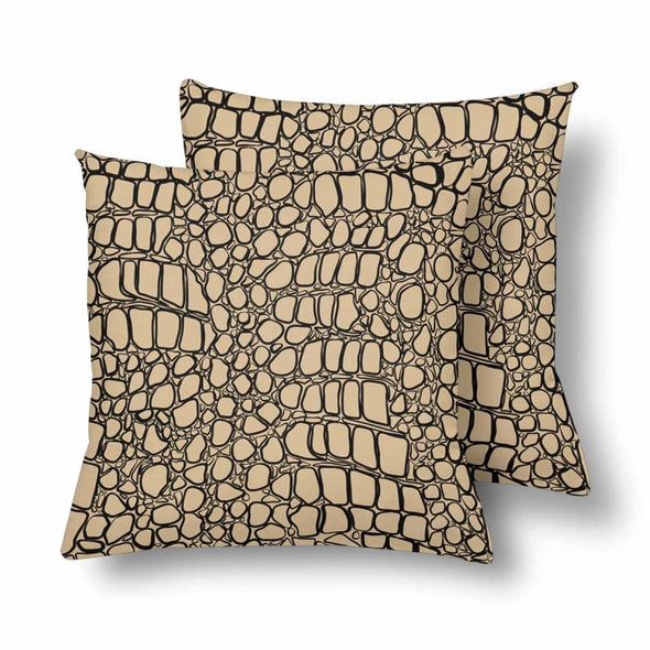 18 x 18 Throw Pillows (2) - Custom Crocodile Pattern - Tan Crocodile - Housewares crocodiles housewares pillows